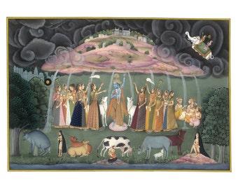 Traditional Indian Painting of Krishna lifting up Mount Govardhan - Fine Art Print