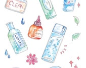 Korean Skincare Routine Sticker Sheet - Watercolor Illustrations, inspired by KBeauty Products: Cream, Essence, Lotion, Sheetmask