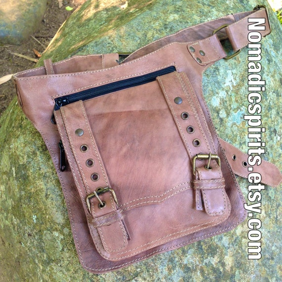 zip large pockets leather belt with adjustable waist