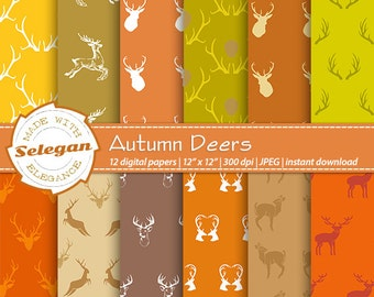 Autumn Deers, Digital Paper, Scrapbooking, Paper, 12x12, Printable, Deer, Antlers, Pattern, mooze, Christmas, Background, Download