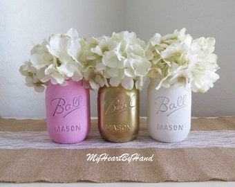 Pink Gold And White Distressed Mason Jars, Pink And Gold Baby Shower, Pink  And