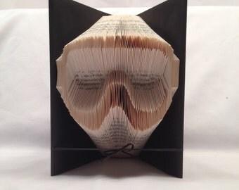 Goggles, Ski, Snowboard,Mountain bike, Mask, Christmas,Sports,Winter, Shadow Books,Folded book art