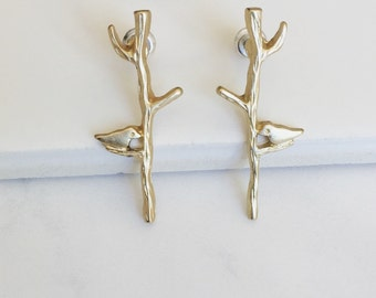 Gold Matte Bird Tree Earrings