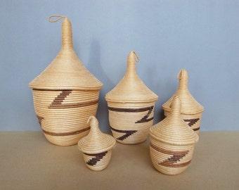 Rwandese Vintage Rwandan Peace Baskets / Nesting Basket - Agaseke- African Hand Craft