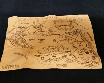 Laser etched leather Skyrim Map
