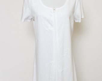 Vtg 80s White Sailor Coverup Beach Mini Dress