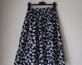 Vintage High Waisted Floral Midi Skirt /Floral Women's Skirt/ Beautiful Midi Skirt/