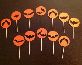 Halloween Bat Cupcake Picks, set of 12