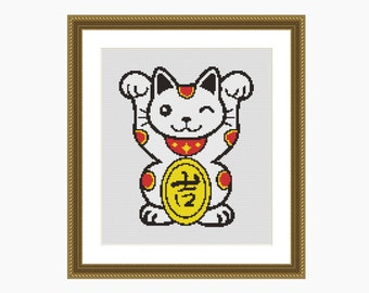 Cross Stitch Pattern, Modern Cross Stitch - 'LUCKY CAT' cross stitch chart - Downloadable PDFcross stitch pattern, cat cross stitch