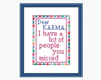 Cross Stitch Pattern, Modern Cross stitch - DEAR KARMA cross stitch chart - Downloadable PDF