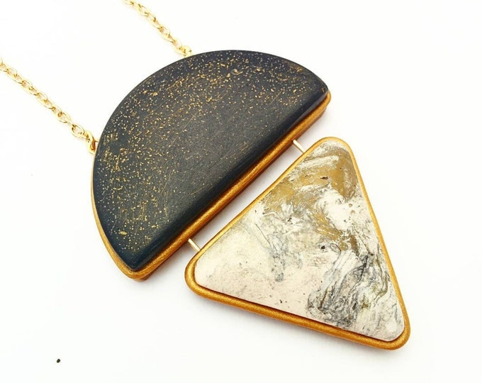 GALAXY PENDANT NECKLACE// Geometric, marbled polymer clay statement necklace//  Gold trim, white and black marbled pendant// #PN4057