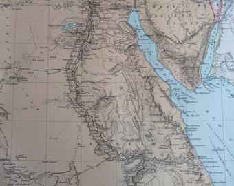 Vintage Egypt Map Etsy - Map of egypt 1920