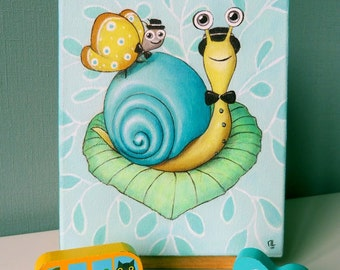 Table snail child/baby room, turquoise wall decoration