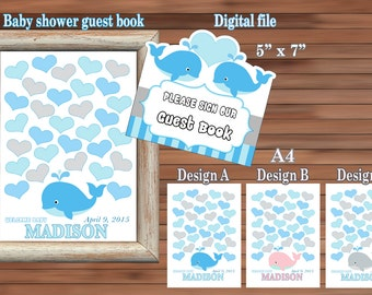 Baby shower guest book, Whale Guest Book, Personalized Guest Book, Digital file, PDF