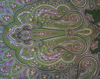 Vintage Russian Shawl Green with Lavender