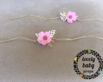 Organic newborn floral tieback photo prop baby pink headband