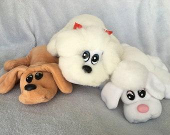 Vintage Tonka Pound Puppies newborn tan brown white with black spots brown with black spots