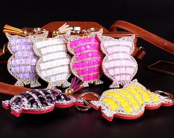 Owl Bag Bugs Charm Rhinestone Customize unique Keychains Owl key chains tote handbag charm