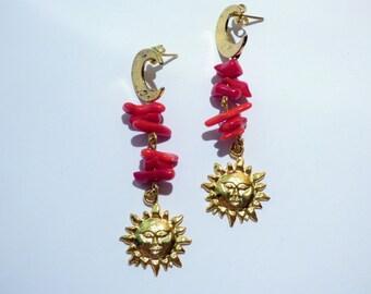 Golden Moon and Sun Coral Earrings AR078
