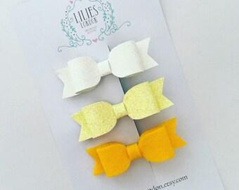 Yellow hair clips, lemon hair bow, sparkly hair slides, glittery hairbows, easter hair bands, mini hair bows, baby headbands, toddler clips