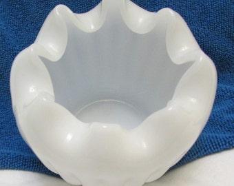 Vintage Milk Glass Ruffled Vase