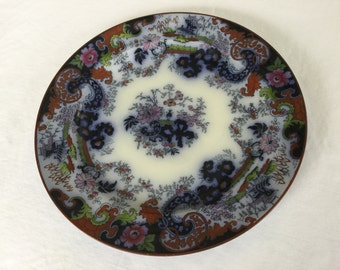 "Antique Mid 19th C Corey Hill Staffordshire Flow Blue Polychrome Chinoiserie 9 1/4"" Dinner Plate"