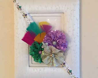 Mardi Gras Feather Headband, Mardi Gras Shabby Chic Headband,  Purple, Green And Gold Headband, Louisians Inspired Headband