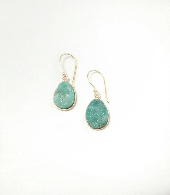 sea green druzy dangle earrings