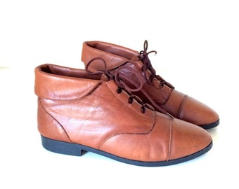 Vintage Brown Leather Ankle Lace up Boots Size 8 1/2