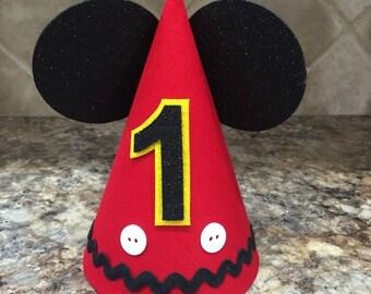 Mickey Birthday hat, first birthday, mickey, cake smash, 1st Birthday party
