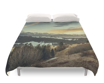Mountain Duvet Cover, Nature Photography, Landscape Photo, Winter Bedding, Nature Decor, Bedroom Art, Twin, Full, Duvet Queen, Duvet King