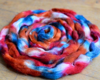 Hand Dyed Superwash Texel Top/Roving - 100g approx