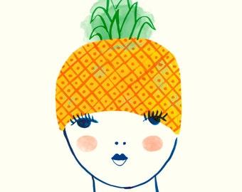 L' Ananas, art print, fruit girl, portrait, french, les fruits frais series, Sarah Walsh