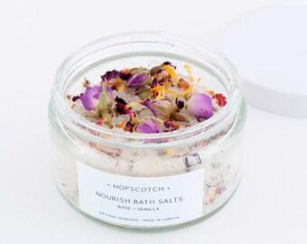 Hopscotch Nourish Bath Salts — Rose and Vanilla Bath Salts — Natural Skincare Made in the UK