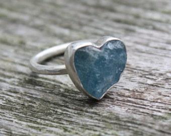Natürliche grobe Aquamarin Herz Sterling Silber Ring
