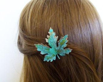 Wedding Hair Clip Bridal Barrette Bride Bridesmaid Green Maple Leaf Botanical Autumn Fall Rustic Woodland Accessories Womens Gift For Her