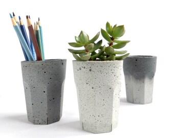Concrete Pot Cup for Succulent Cactus Grey Urban Industrial Planter Home Decor