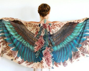 Wing Scarf, Festival Scarf, Women Scarf, Printed Scarf, Valentines Day Gift, Women Sarong, Feathers Wing Shawl, Bohemian Scarf, Gift For Her