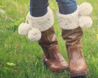 Crochet Pattern, crochet boot cuff pattern, crochet boot socks pattern, boot cuffs with pom poms, sizes child and adult, ADELINE BOOT CUFFS