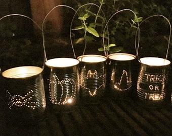 Set of 5 Upcycled Halloween Tin Can Lanterns Decoration