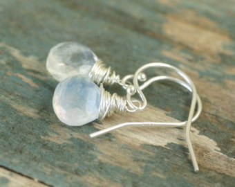Moonstone earrings sterling silver dangle earrings, June birthstone jewelry, moonstone jewelry, June birthday gift - Sarah