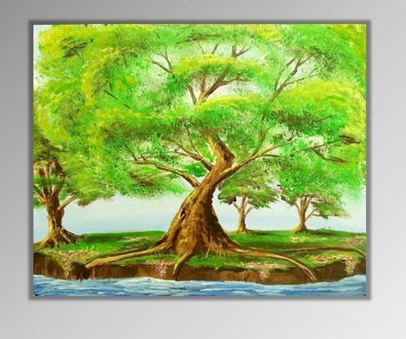 Spring Tree Wall Decor : Items similar to oak tree painting summer art