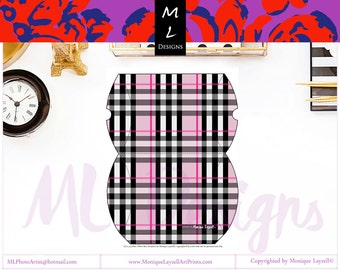 Pink Plaid Pillow Box Printable File Folded  6'5 x 4'5 inches