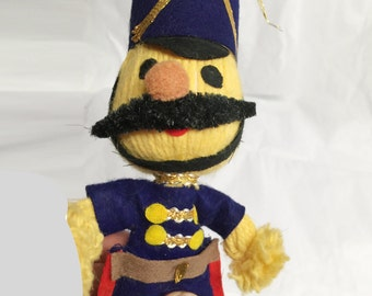 VINTAGE - Yarn Soldier with Felt Uniform & Mustache - by Lee Wards - Japan - 9""