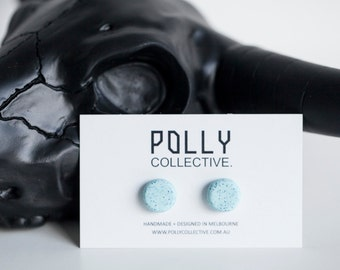 PEPPERMINT Polly Dots in Mint Blue Granite - Polymer Clay Earrings