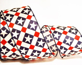 Patriotic Ribbon - America Star - Wired Edge - 2 Widths