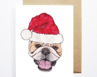 Christmas Card - Bull Dog, Dog Christmas Card, Cute Christmas Card, Holiday Card, Xmas Card, Seasonal Card, Christmas Card Set