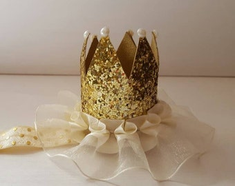 Mini Princess Crown Headband Gold Sparkle Ivory Ruffle Birthday/Photo Prop/Pageant