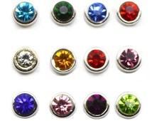 Round Birthstone Month Stone Floating Charm fits Living Memory Floating Origami Locket Necklace Jewelry