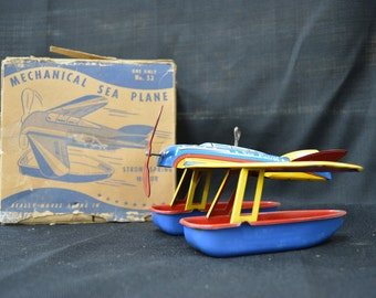 Ohio Art Tin Sea Patrol Plane Pontoon Wind Up Toy w/ Box
